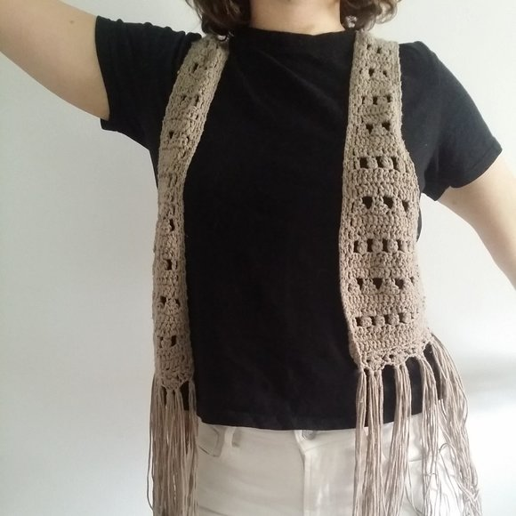 Vintage Crochet Vest with Extra Long Fringe